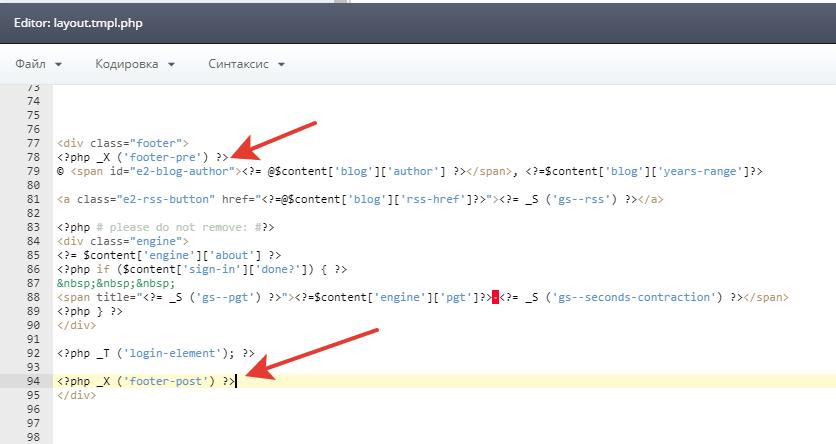 Вывод кастомного кода в шаблон темы